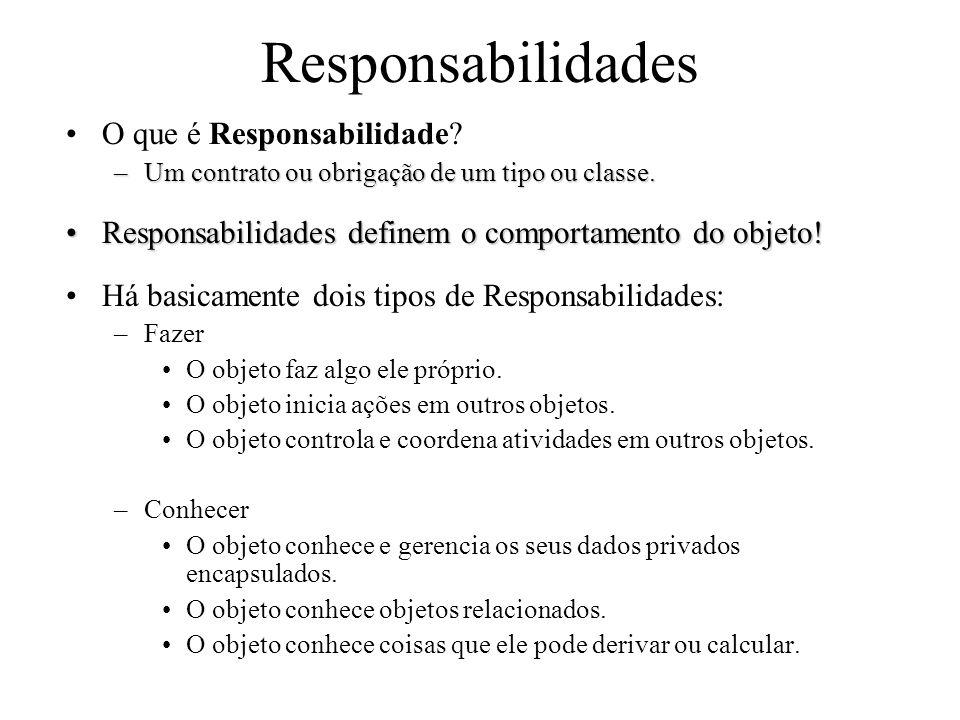 Responsabilidades O que é Responsabilidade? –Um contrato ou obrigação de um tipo ou classe. Responsabilidades definem o comportamento do objeto!Respon