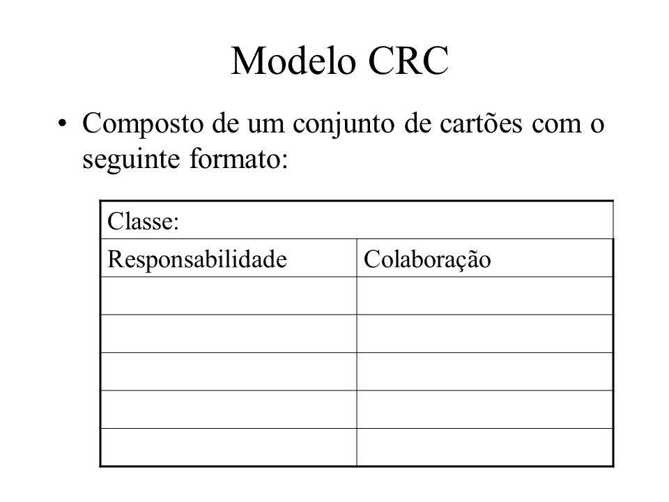 Ex: CRC Conta Corrente ResponsabilidadeColaboração Saber o seu saldoCliente Saber seu clienteHistórico de Transações Saber seu número Manter histórico de transações Realizar saques e depósitos atributos métodos