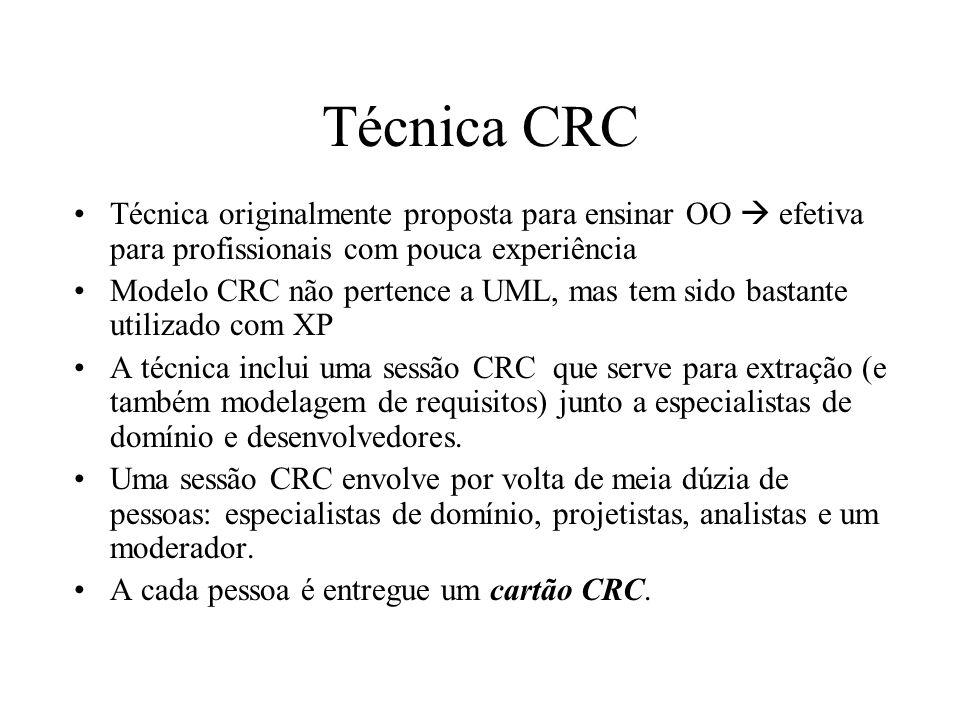 Técnica CRC Técnica originalmente proposta para ensinar OO efetiva para profissionais com pouca experiência Modelo CRC não pertence a UML, mas tem sid