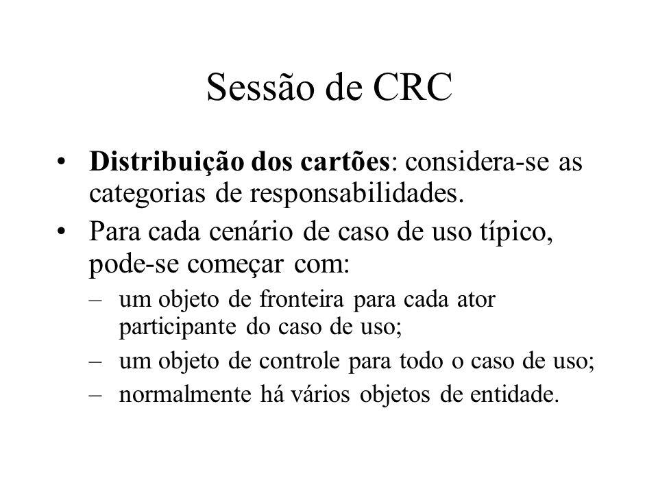Sessão de CRC Distribuição dos cartões: considera-se as categorias de responsabilidades. Para cada cenário de caso de uso típico, pode-se começar com: