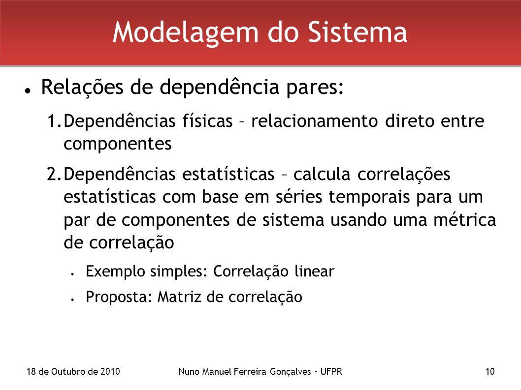 18 de Outubro de 2010Nuno Manuel Ferreira Gonçalves - UFPR10 Modelagem do Sistema Relações de dependência pares: 1.Dependências físicas – relacionamento direto entre componentes 2.Dependências estatísticas – calcula correlações estatísticas com base em séries temporais para um par de componentes de sistema usando uma métrica de correlação Exemplo simples: Correlação linear Proposta: Matriz de correlação