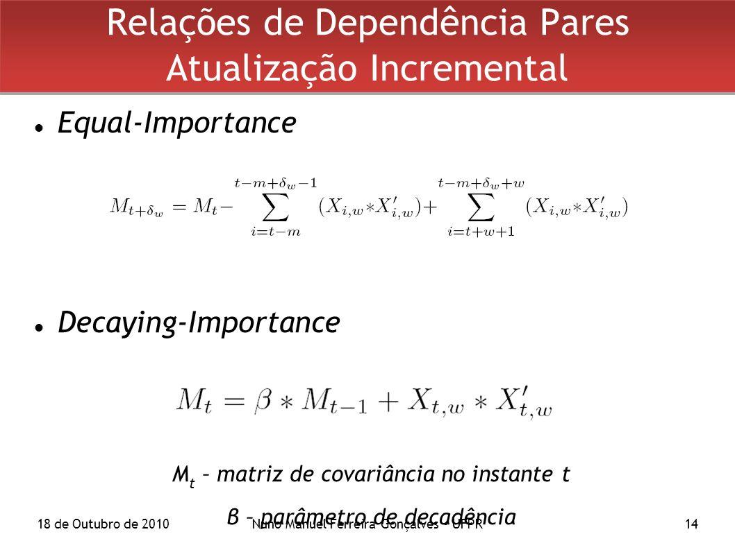 18 de Outubro de 2010Nuno Manuel Ferreira Gonçalves - UFPR14 Relações de Dependência Pares Atualização Incremental Equal-Importance Decaying-Importance M t – matriz de covariância no instante t β – parâmetro de decadência