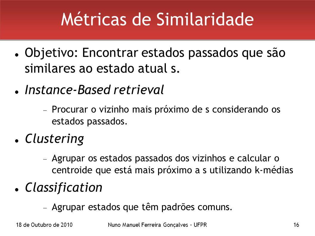 18 de Outubro de 2010Nuno Manuel Ferreira Gonçalves - UFPR16 Métricas de Similaridade Objetivo: Encontrar estados passados que são similares ao estado atual s.