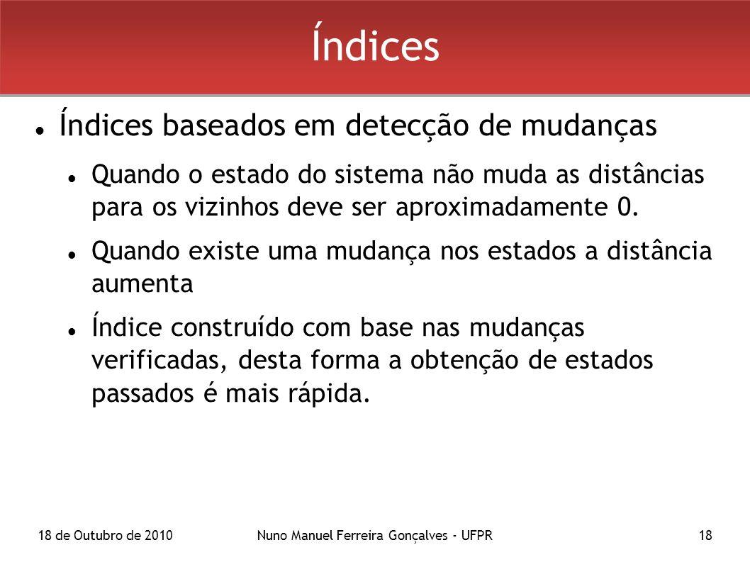 18 de Outubro de 2010Nuno Manuel Ferreira Gonçalves - UFPR18 Índices Índices baseados em detecção de mudanças Quando o estado do sistema não muda as distâncias para os vizinhos deve ser aproximadamente 0.