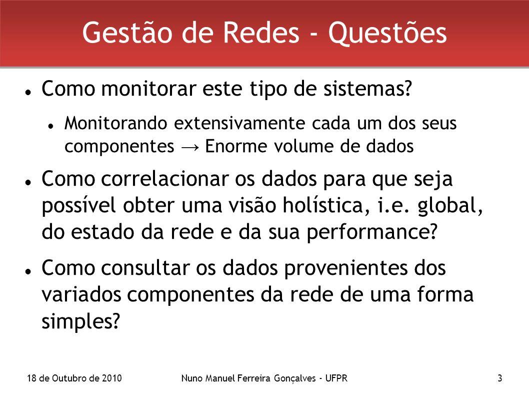 18 de Outubro de 2010Nuno Manuel Ferreira Gonçalves - UFPR3 Gestão de Redes - Questões Como monitorar este tipo de sistemas? Monitorando extensivament