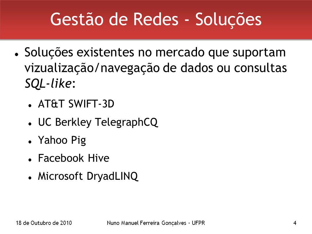 18 de Outubro de 2010Nuno Manuel Ferreira Gonçalves - UFPR4 Gestão de Redes - Soluções Soluções existentes no mercado que suportam vizualização/navegação de dados ou consultas SQL-like: AT&T SWIFT-3D UC Berkley TelegraphCQ Yahoo Pig Facebook Hive Microsoft DryadLINQ