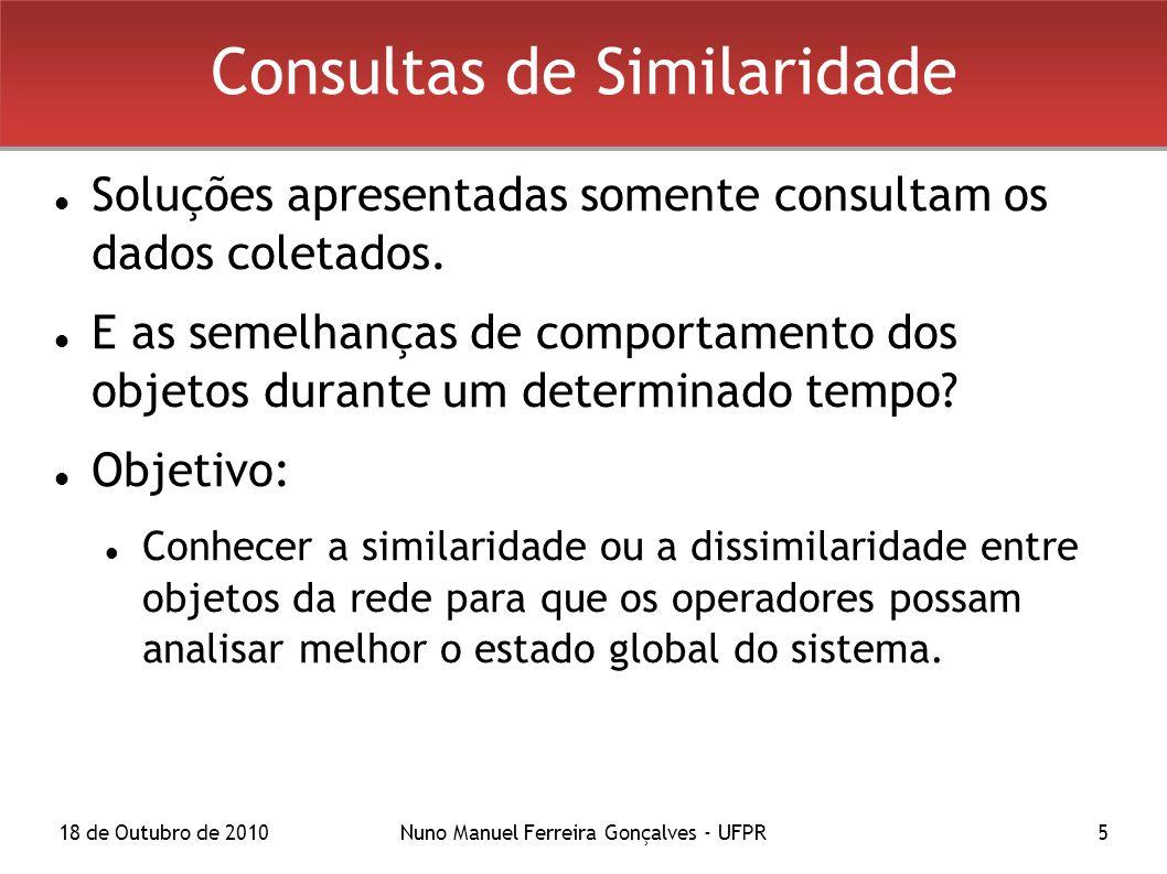 18 de Outubro de 2010Nuno Manuel Ferreira Gonçalves - UFPR5 Consultas de Similaridade Soluções apresentadas somente consultam os dados coletados. E as