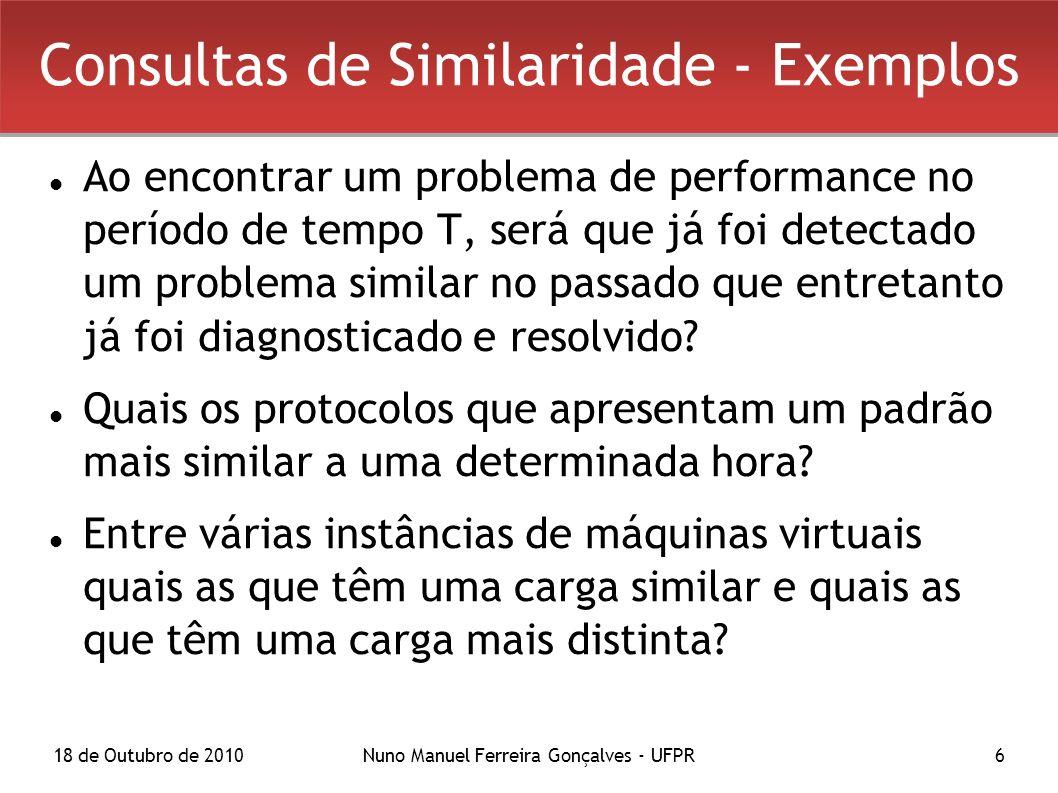 18 de Outubro de 2010Nuno Manuel Ferreira Gonçalves - UFPR6 Consultas de Similaridade - Exemplos Ao encontrar um problema de performance no período de tempo T, será que já foi detectado um problema similar no passado que entretanto já foi diagnosticado e resolvido.