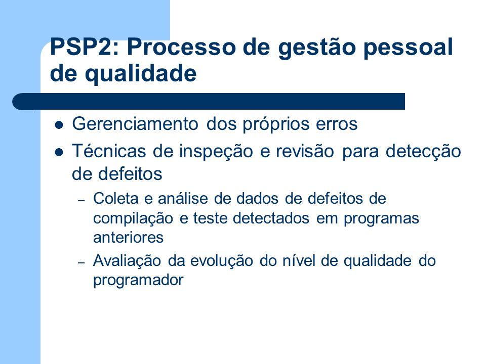 PSP2: Processo de gestão pessoal de qualidade Gerenciamento dos próprios erros Técnicas de inspeção e revisão para detecção de defeitos – Coleta e aná
