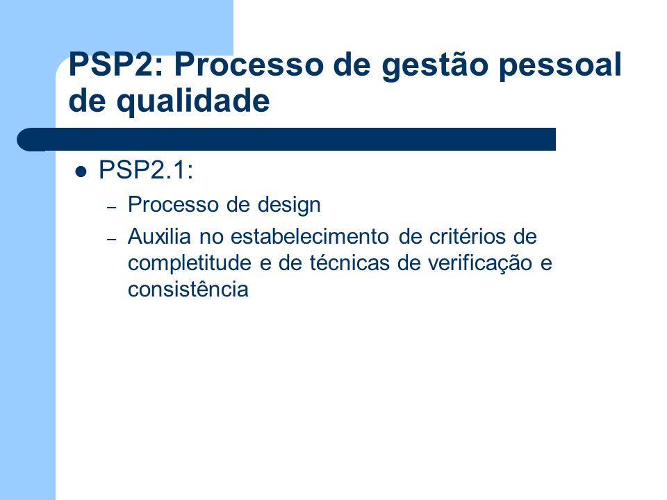 PSP2: Processo de gestão pessoal de qualidade PSP2.1: – Processo de design – Auxilia no estabelecimento de critérios de completitude e de técnicas de