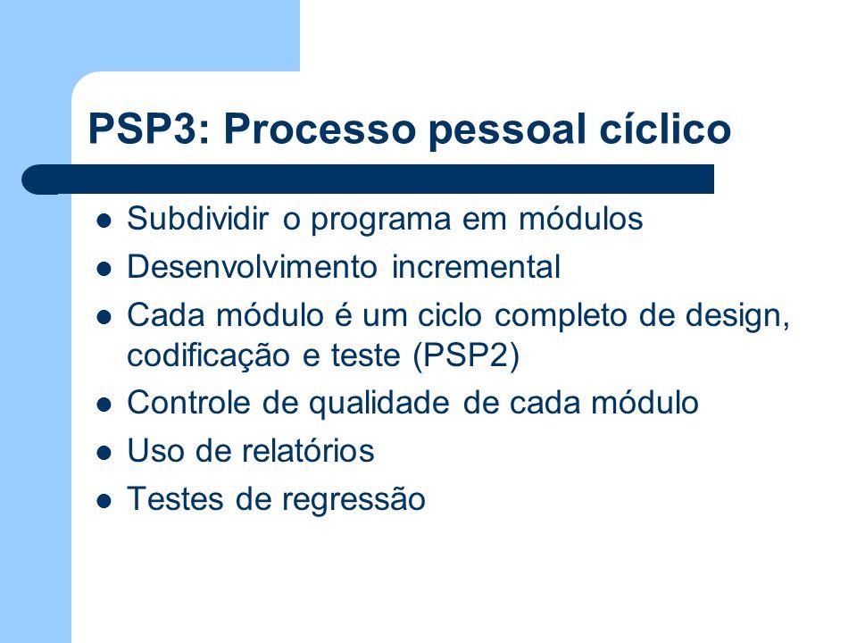 PSP3: Processo pessoal cíclico Subdividir o programa em módulos Desenvolvimento incremental Cada módulo é um ciclo completo de design, codificação e t
