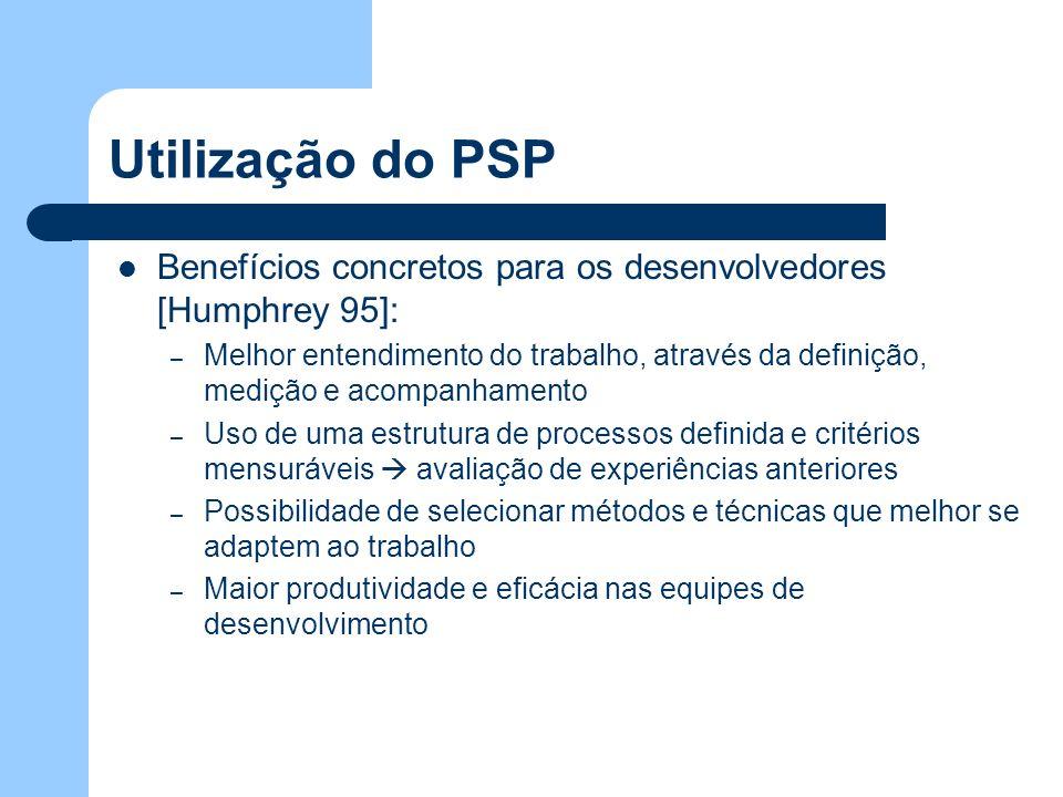 Utilização do PSP Benefícios concretos para os desenvolvedores [Humphrey 95]: – Melhor entendimento do trabalho, através da definição, medição e acomp