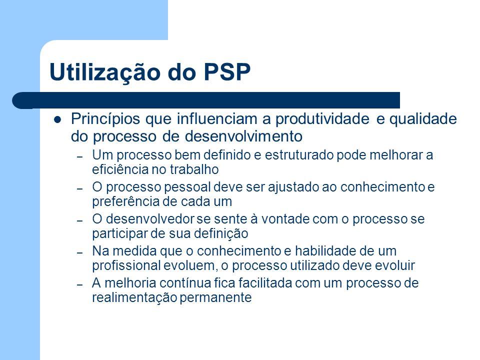 Utilização do PSP Princípios que influenciam a produtividade e qualidade do processo de desenvolvimento – Um processo bem definido e estruturado pode