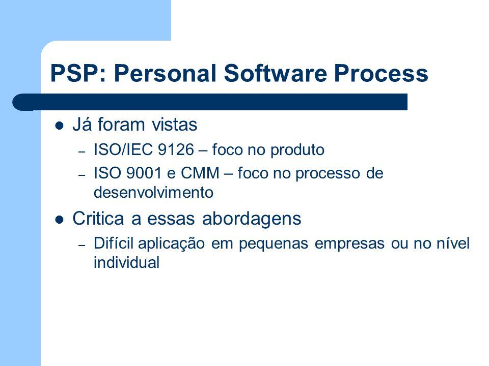 PSP: Personal Software Process Já foram vistas – ISO/IEC 9126 – foco no produto – ISO 9001 e CMM – foco no processo de desenvolvimento Critica a essas