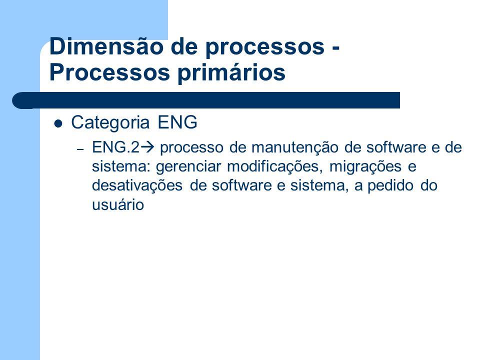 Dimensão de processos - Processos primários Categoria ENG – ENG.2 processo de manutenção de software e de sistema: gerenciar modificações, migrações e