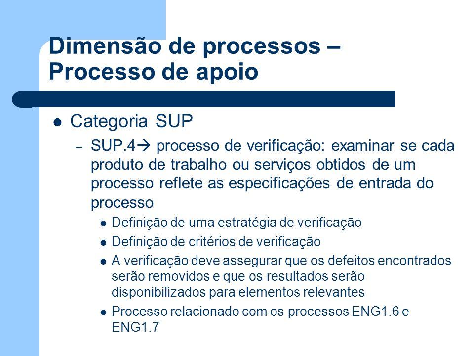 Dimensão de processos – Processo de apoio Categoria SUP – SUP.4 processo de verificação: examinar se cada produto de trabalho ou serviços obtidos de u
