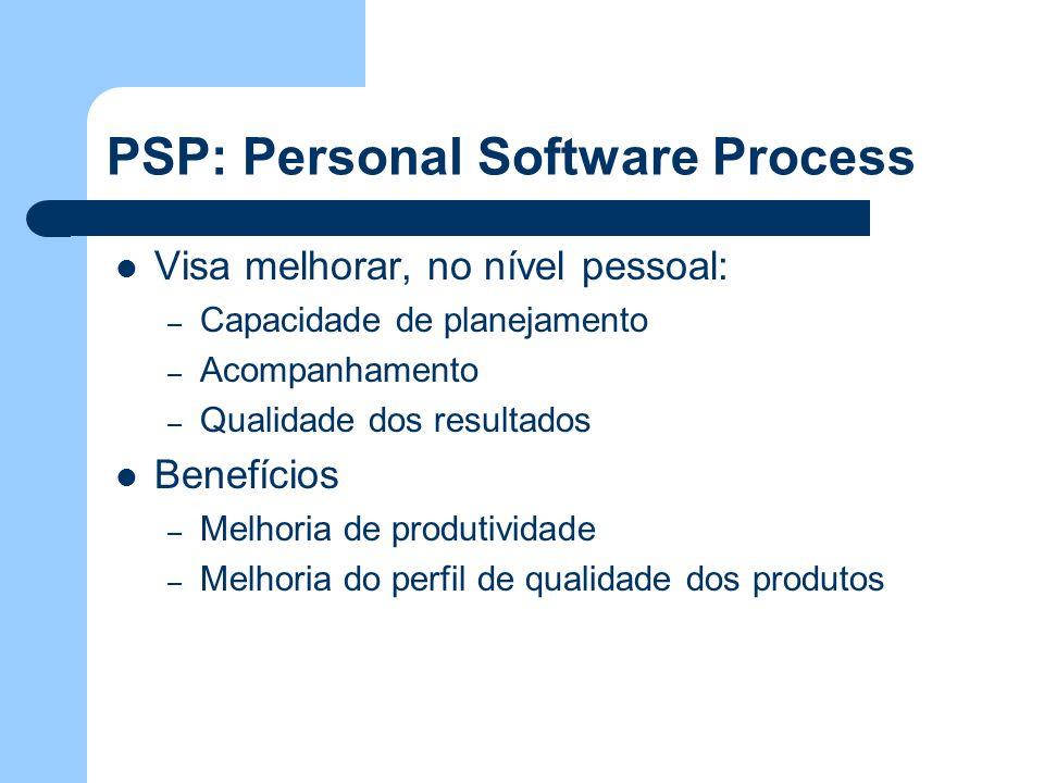 PSP: Personal Software Process Visa melhorar, no nível pessoal: – Capacidade de planejamento – Acompanhamento – Qualidade dos resultados Benefícios –