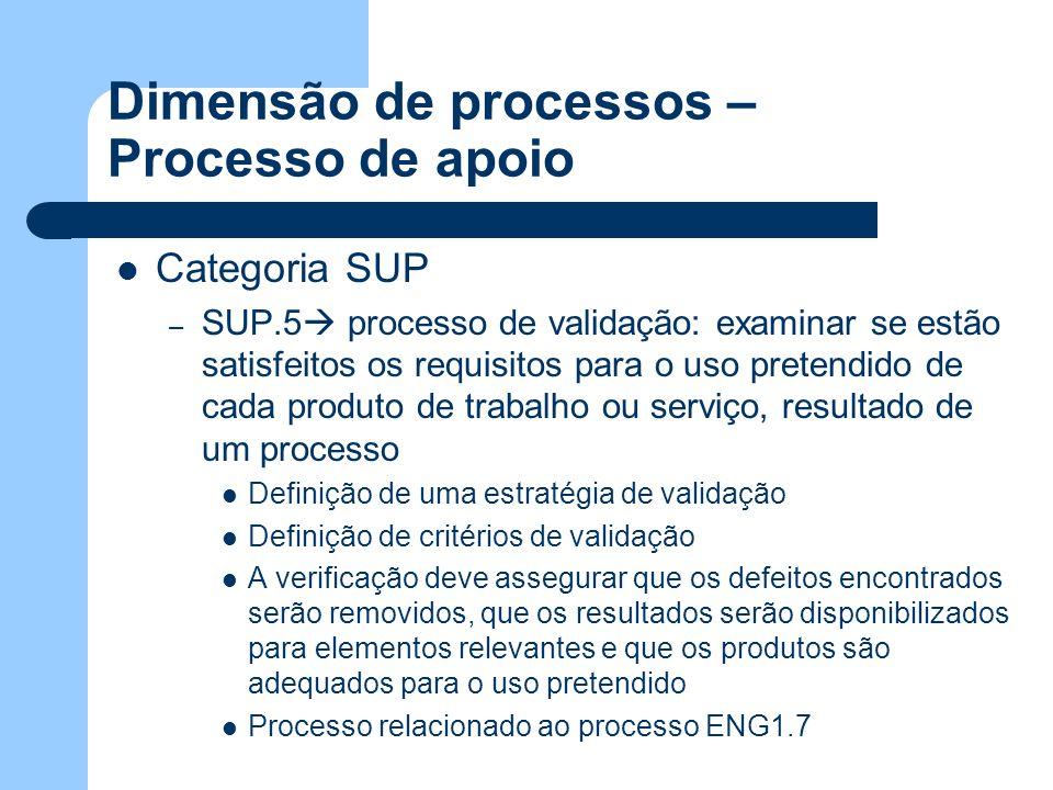 Dimensão de processos – Processo de apoio Categoria SUP – SUP.5 processo de validação: examinar se estão satisfeitos os requisitos para o uso pretendi