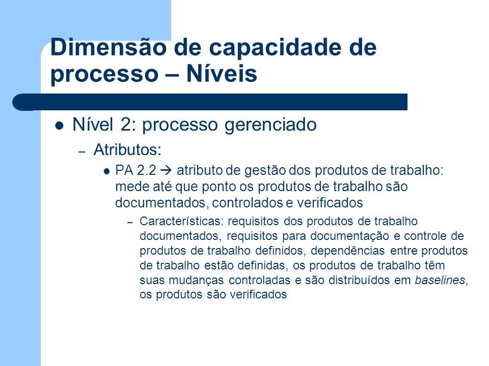 Dimensão de capacidade de processo – Níveis Nível 2: processo gerenciado – Atributos: PA 2.2 atributo de gestão dos produtos de trabalho: mede até que