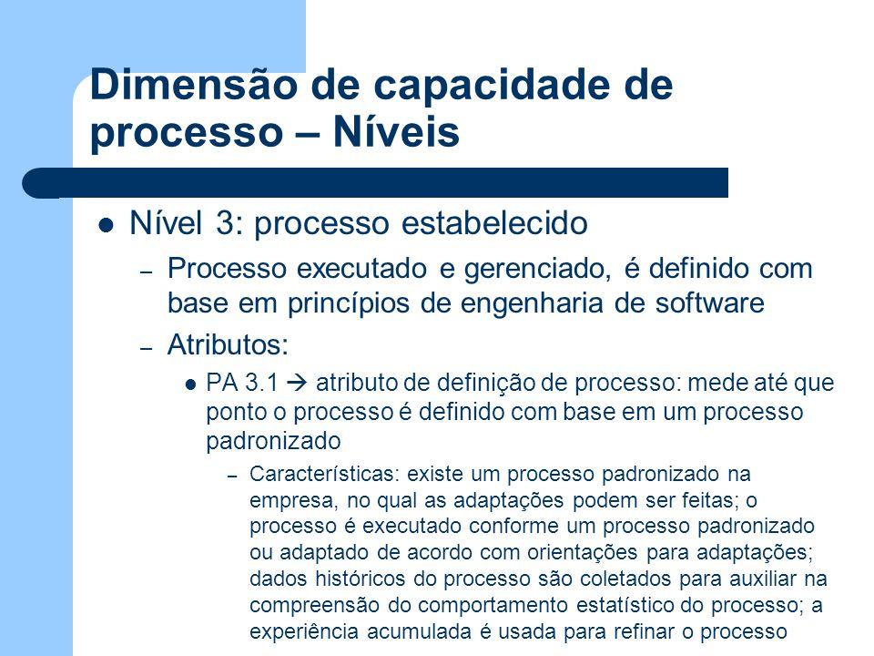 Dimensão de capacidade de processo – Níveis Nível 3: processo estabelecido – Processo executado e gerenciado, é definido com base em princípios de eng