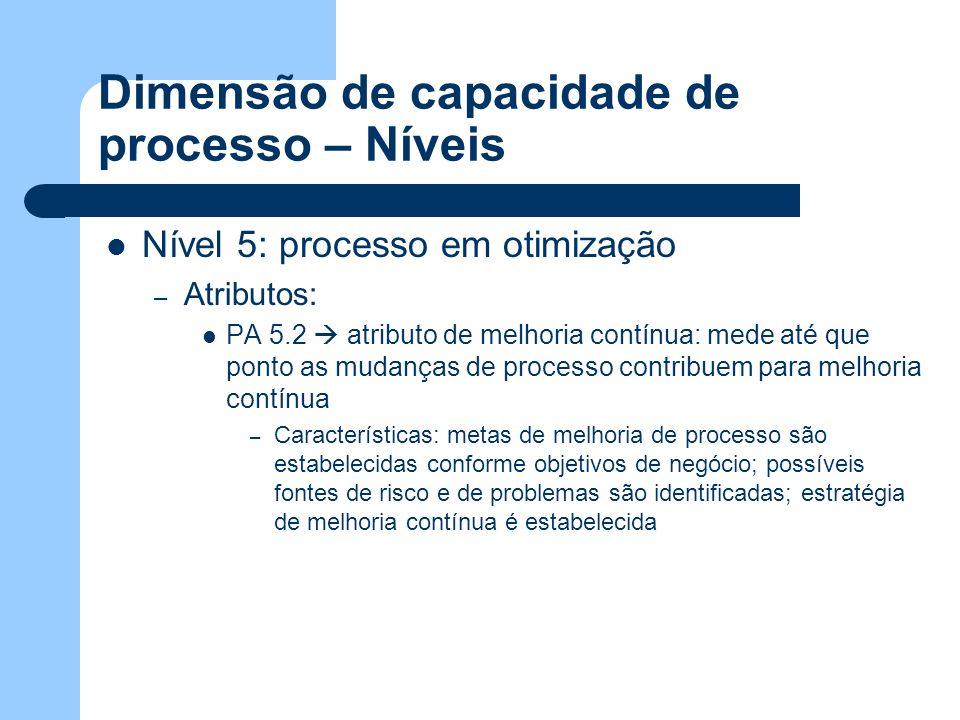 Dimensão de capacidade de processo – Níveis Nível 5: processo em otimização – Atributos: PA 5.2 atributo de melhoria contínua: mede até que ponto as m