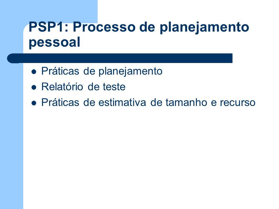 PSP1: Processo de planejamento pessoal Práticas de planejamento Relatório de teste Práticas de estimativa de tamanho e recurso