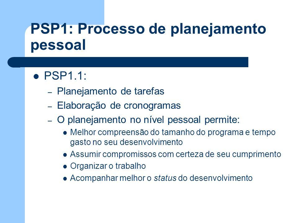PSP1: Processo de planejamento pessoal PSP1.1: – Planejamento de tarefas – Elaboração de cronogramas – O planejamento no nível pessoal permite: Melhor