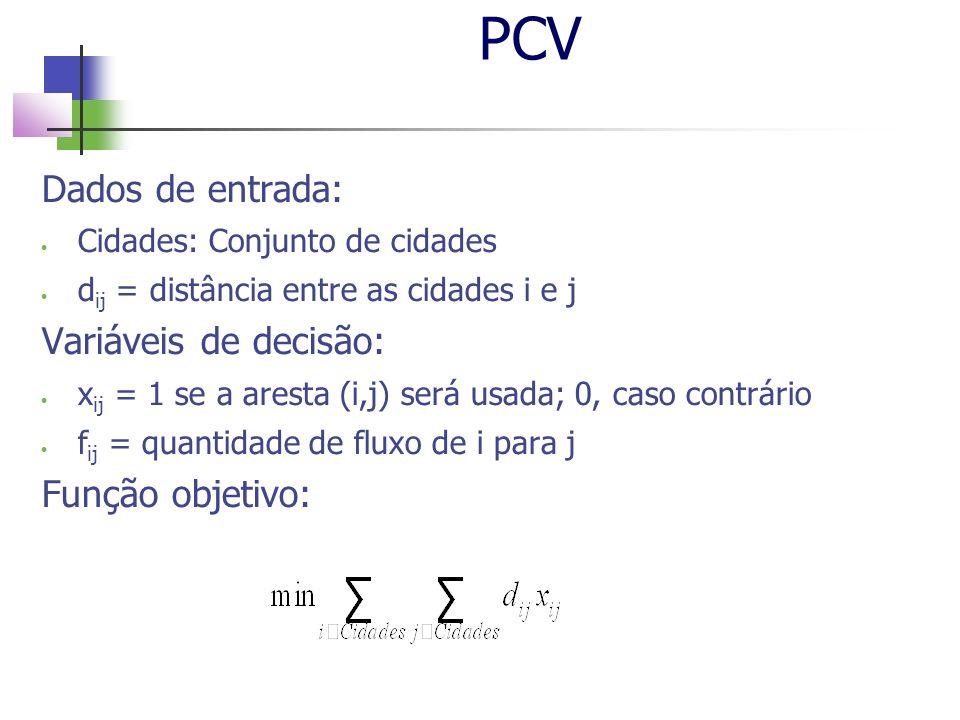 PCV Dados de entrada: Cidades: Conjunto de cidades d ij = distância entre as cidades i e j Variáveis de decisão: x ij = 1 se a aresta (i,j) será usada