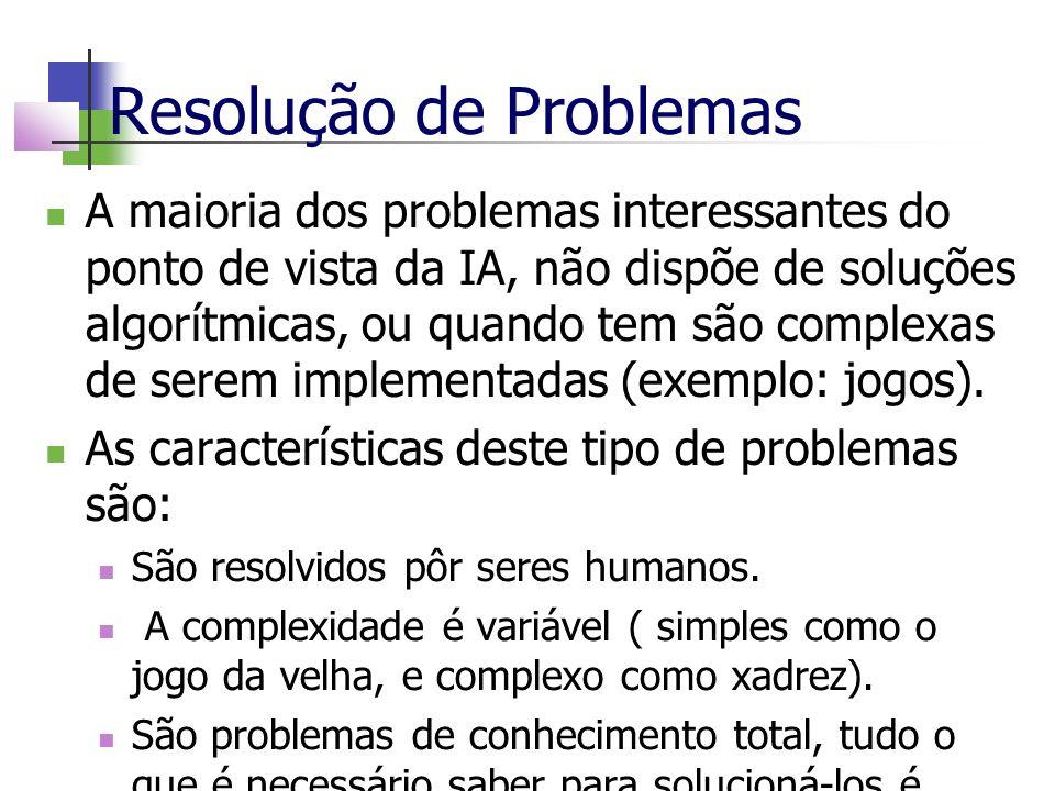 Resolução de Problemas A maioria dos problemas interessantes do ponto de vista da IA, não dispõe de soluções algorítmicas, ou quando tem são complexas