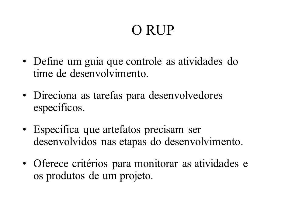 O RUP Define um guia que controle as atividades do time de desenvolvimento. Direciona as tarefas para desenvolvedores específicos. Especifica que arte
