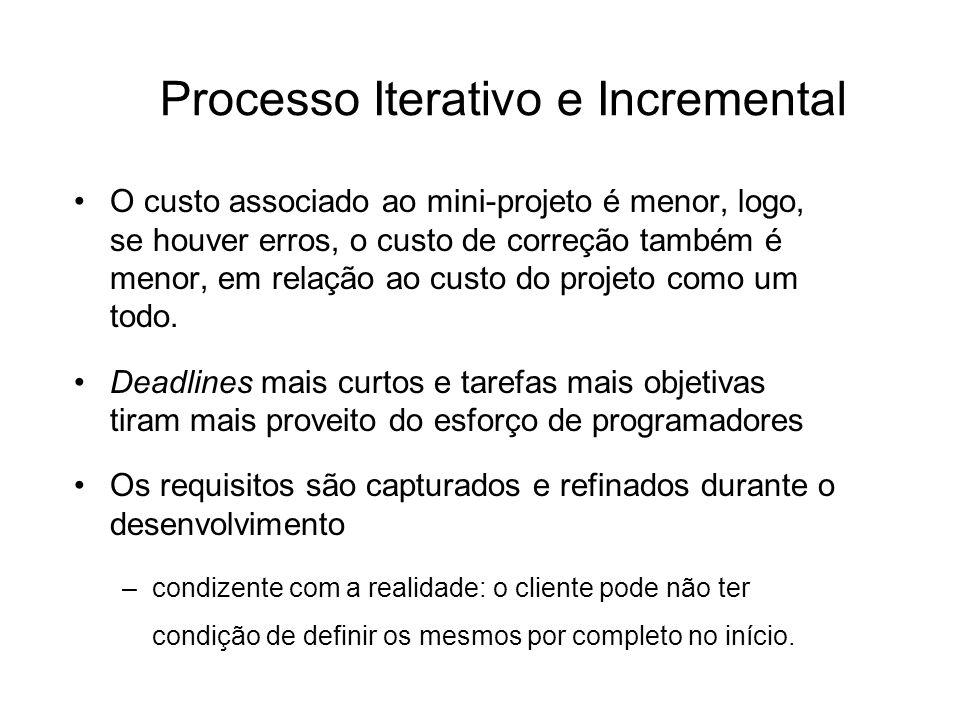 Processo Iterativo e Incremental O custo associado ao mini-projeto é menor, logo, se houver erros, o custo de correção também é menor, em relação ao c