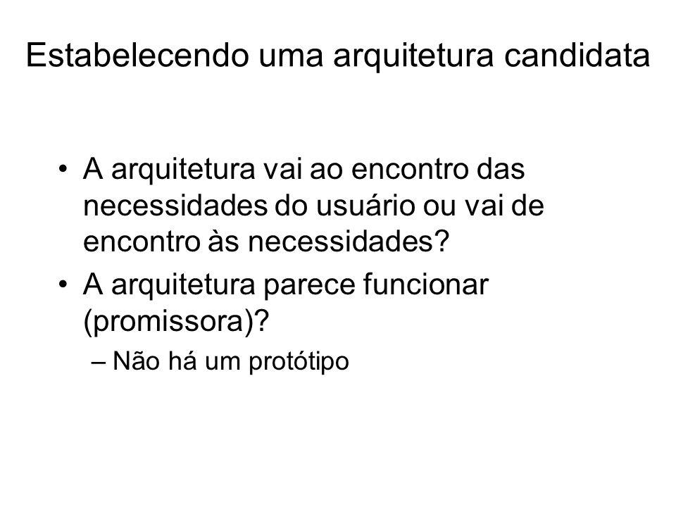 Estabelecendo uma arquitetura candidata A arquitetura vai ao encontro das necessidades do usuário ou vai de encontro às necessidades? A arquitetura pa