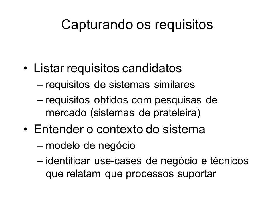 Capturando os requisitos Listar requisitos candidatos –requisitos de sistemas similares –requisitos obtidos com pesquisas de mercado (sistemas de prat