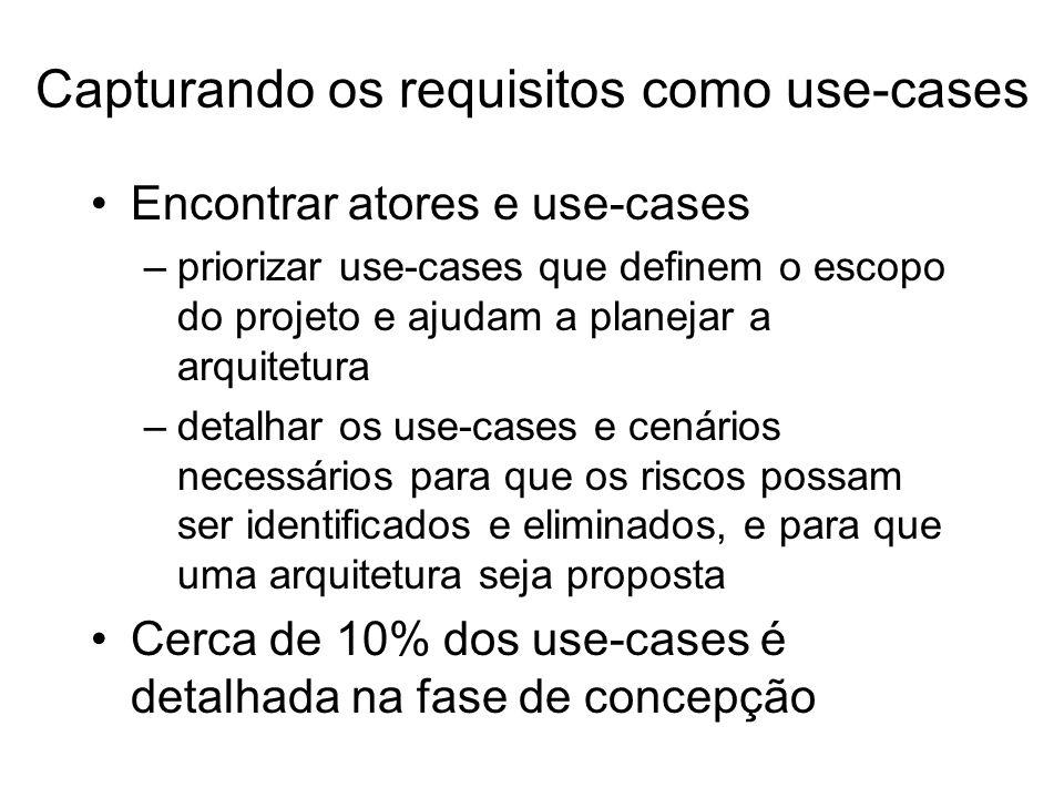 Encontrar atores e use-cases –priorizar use-cases que definem o escopo do projeto e ajudam a planejar a arquitetura –detalhar os use-cases e cenários