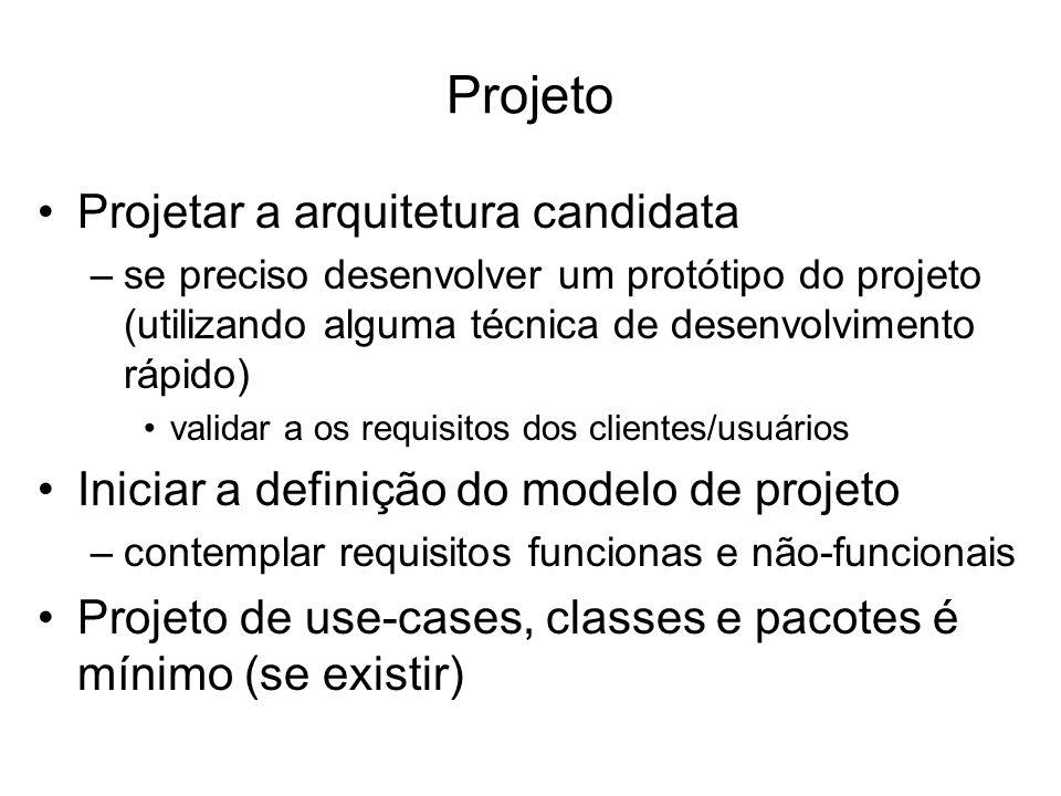 Projeto Projetar a arquitetura candidata –se preciso desenvolver um protótipo do projeto (utilizando alguma técnica de desenvolvimento rápido) validar