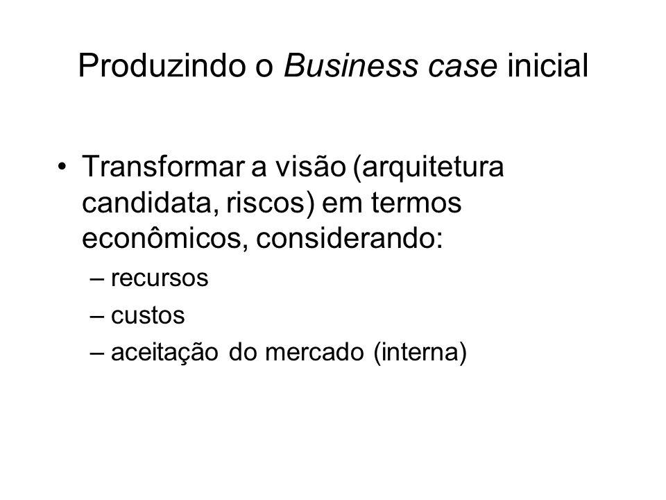 Produzindo o Business case inicial Transformar a visão (arquitetura candidata, riscos) em termos econômicos, considerando: –recursos –custos –aceitaçã