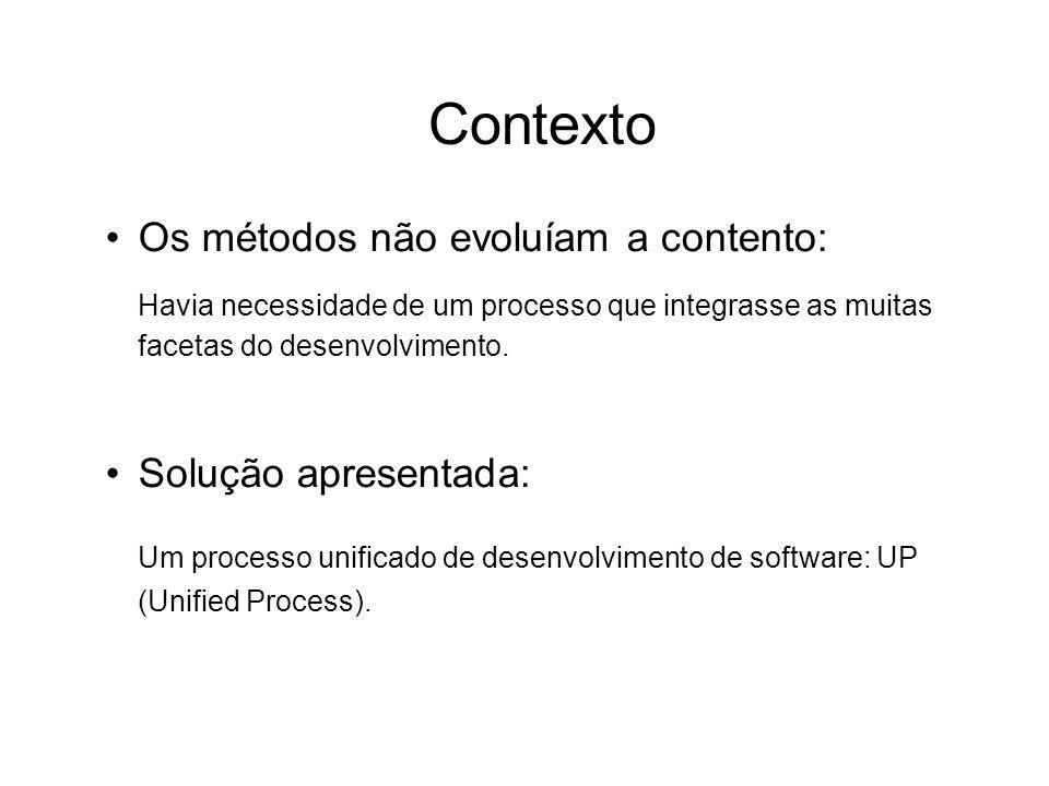 Contexto Os métodos não evoluíam a contento: Havia necessidade de um processo que integrasse as muitas facetas do desenvolvimento. Solução apresentada