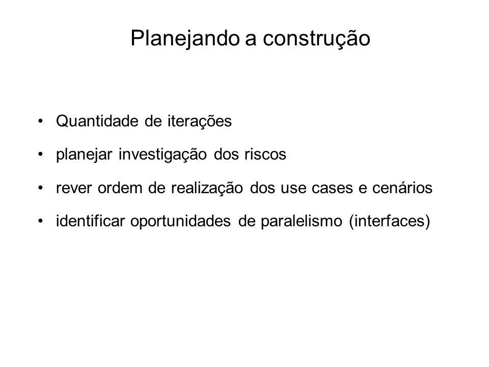 Planejando a construção Quantidade de iterações planejar investigação dos riscos rever ordem de realização dos use cases e cenários identificar oportu