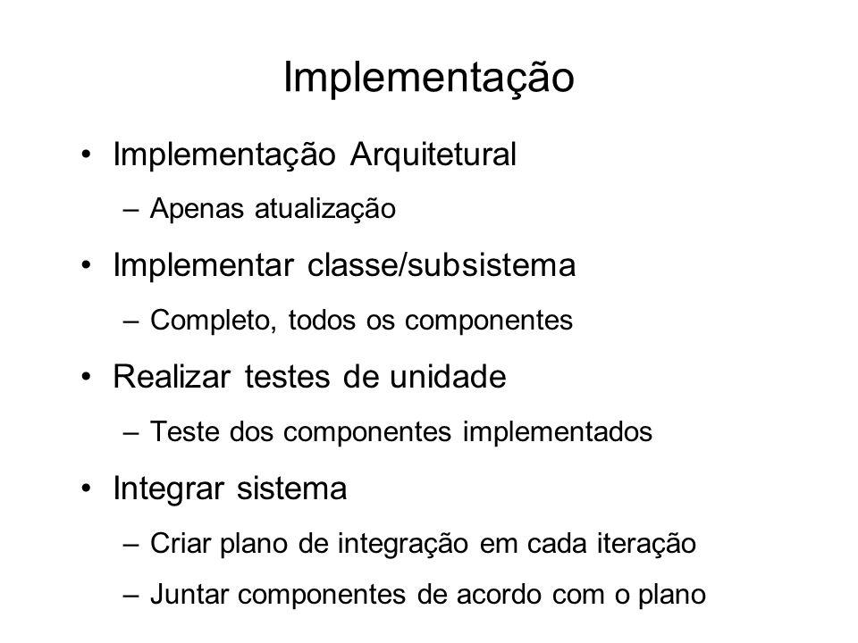 Implementação Implementação Arquitetural –Apenas atualização Implementar classe/subsistema –Completo, todos os componentes Realizar testes de unidade