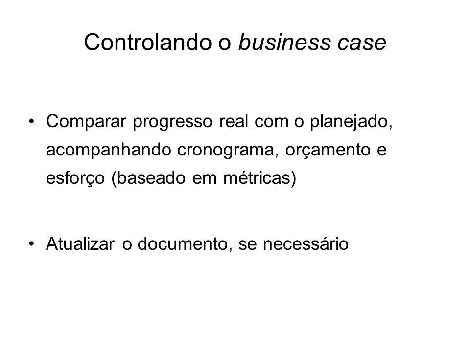 Controlando o business case Comparar progresso real com o planejado, acompanhando cronograma, orçamento e esforço (baseado em métricas) Atualizar o do
