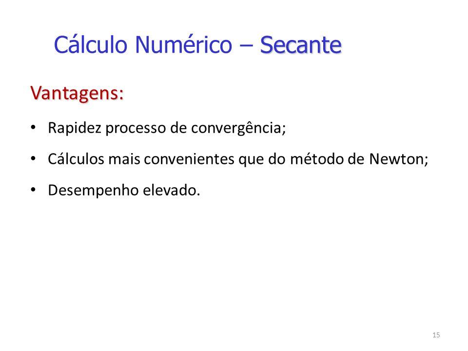 15 Vantagens: Rapidez processo de convergência; Cálculos mais convenientes que do método de Newton; Desempenho elevado.