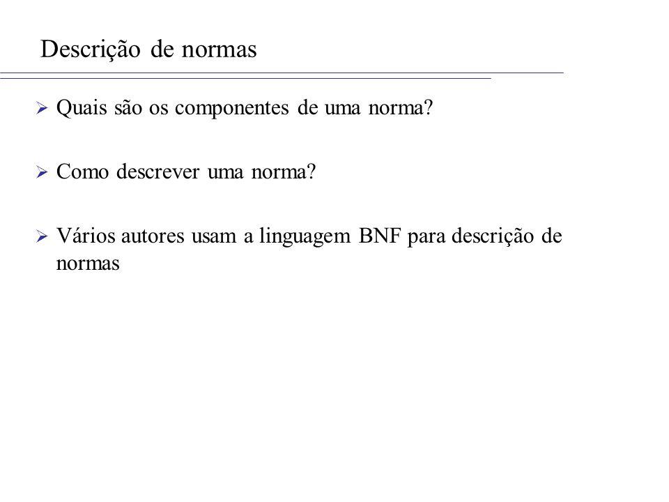 Descrição de normas Quais são os componentes de uma norma? Como descrever uma norma? Vários autores usam a linguagem BNF para descrição de normas