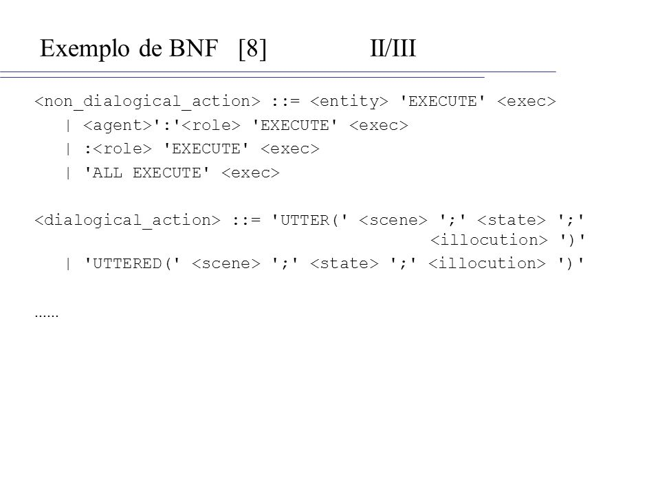 Exemplo de BNF[8]II/III ::= 'EXECUTE' | ':' 'EXECUTE' | : 'EXECUTE' | 'ALL EXECUTE' ::= 'UTTER(' ';' ';' ')' | 'UTTERED(' ';' ';' ')'......