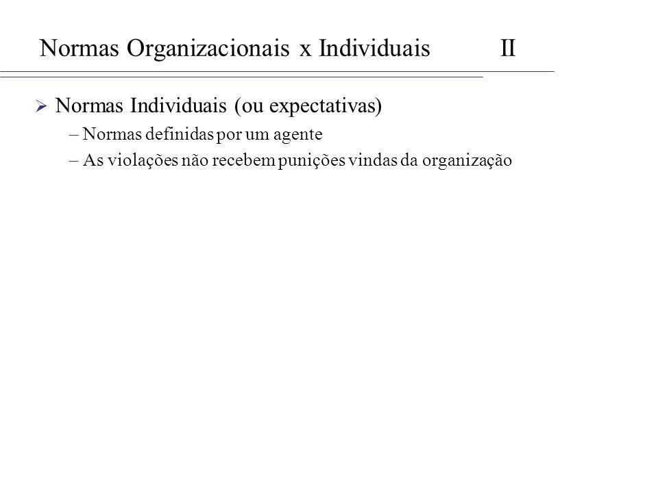 Normas Organizacionais x IndividuaisII Normas Individuais (ou expectativas) –Normas definidas por um agente –As violações não recebem punições vindas