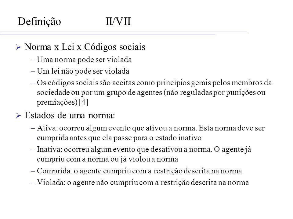 DefiniçãoII/VII Norma x Lei x Códigos sociais –Uma norma pode ser violada –Um lei não pode ser violada –Os códigos sociais são aceitas como princípios