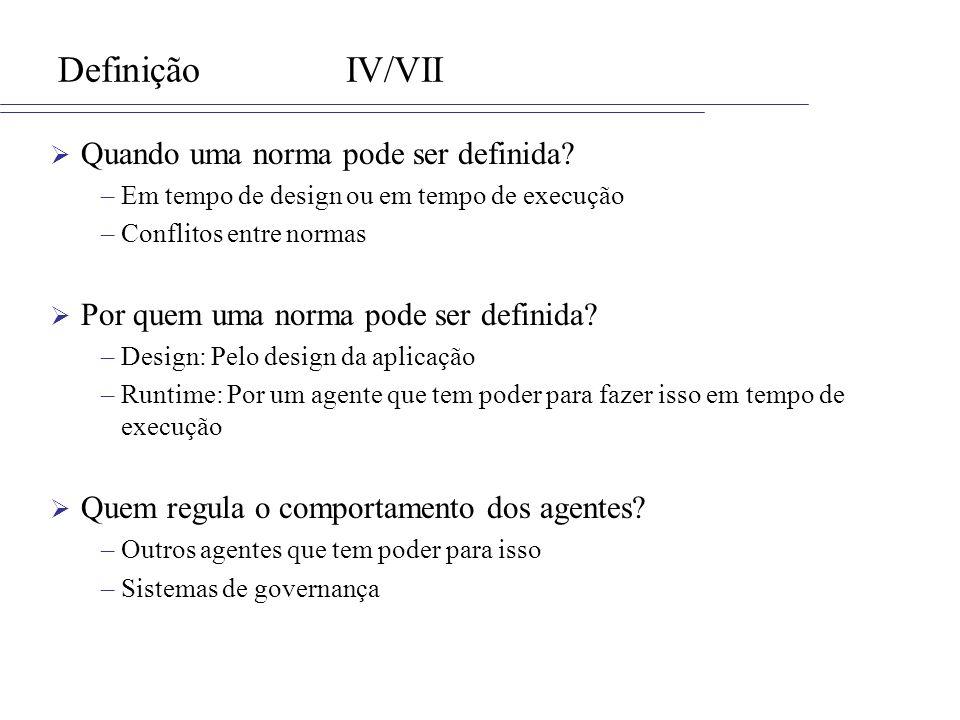 DefiniçãoIV/VII Quando uma norma pode ser definida? –Em tempo de design ou em tempo de execução –Conflitos entre normas Por quem uma norma pode ser de