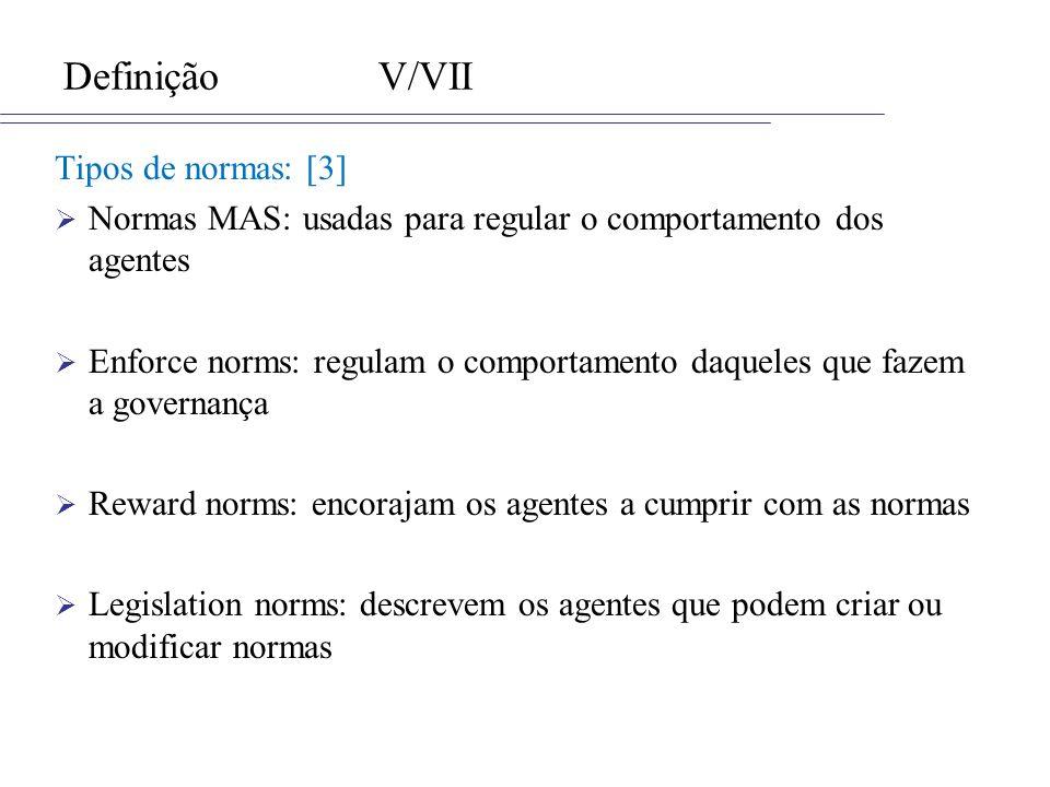 DefiniçãoV/VII Tipos de normas: [3] Normas MAS: usadas para regular o comportamento dos agentes Enforce norms: regulam o comportamento daqueles que fa