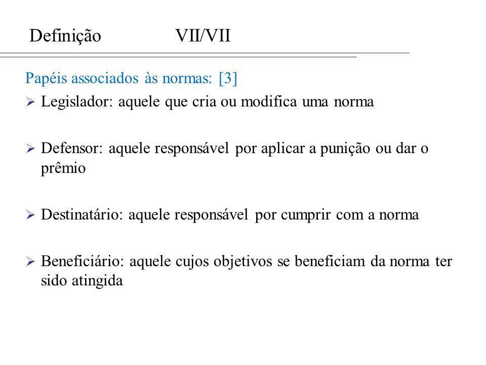 DefiniçãoVII/VII Papéis associados às normas: [3] Legislador: aquele que cria ou modifica uma norma Defensor: aquele responsável por aplicar a punição