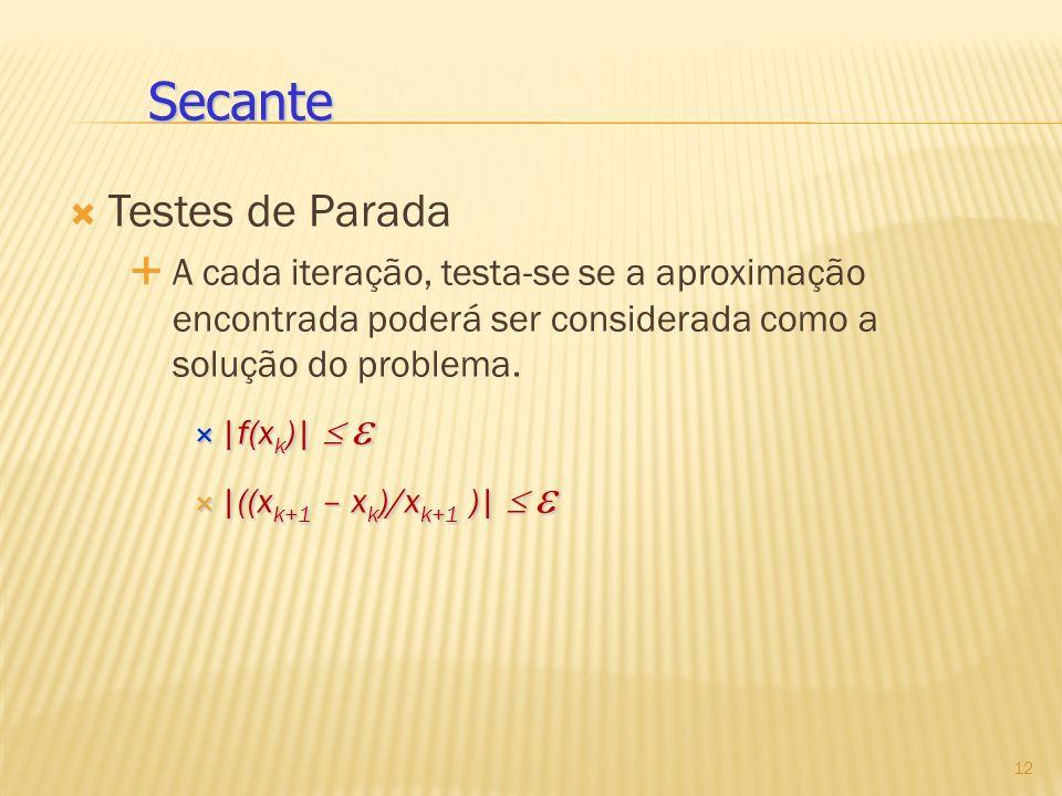 Testes de Parada A cada iteração, testa-se se a aproximação encontrada poderá ser considerada como a solução do problema. |f(x k )| |f(x k )| |((x k+1