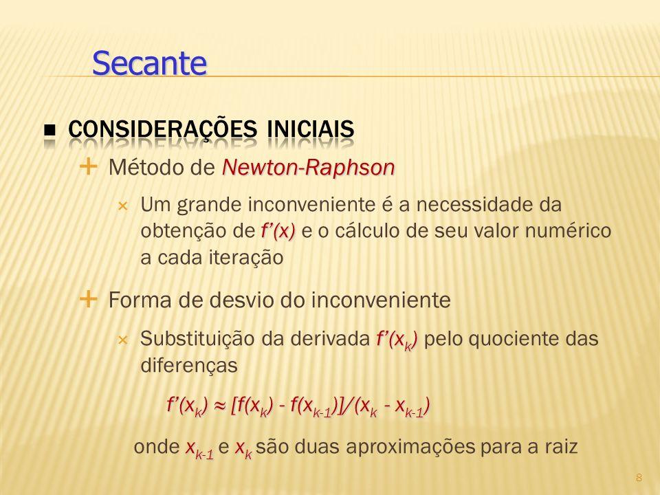 Newton-Raphson Método de Newton-Raphson f(x) Um grande inconveniente é a necessidade da obtenção de f(x) e o cálculo de seu valor numérico a cada iter